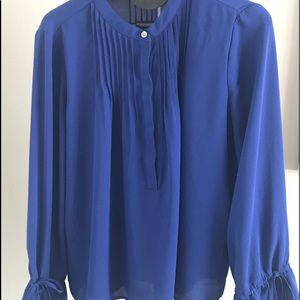 J.Crew Cobalt Blue Blouse With Tie Bell Sleeves XS